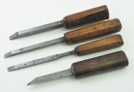 4 EARLY 19th CENTURY MORTISE CHISELS